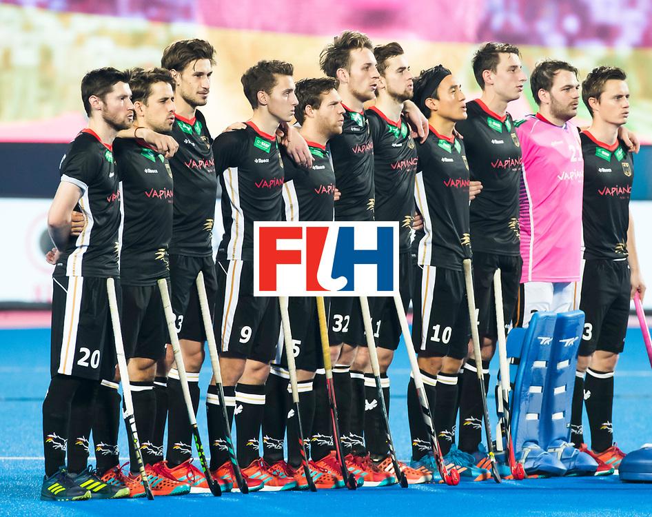 BHUBANESWAR - Line up Germany. Hockey World League finals Match for bronze , Germany v India (1-2). COPYRIGHT KOEN SUYK