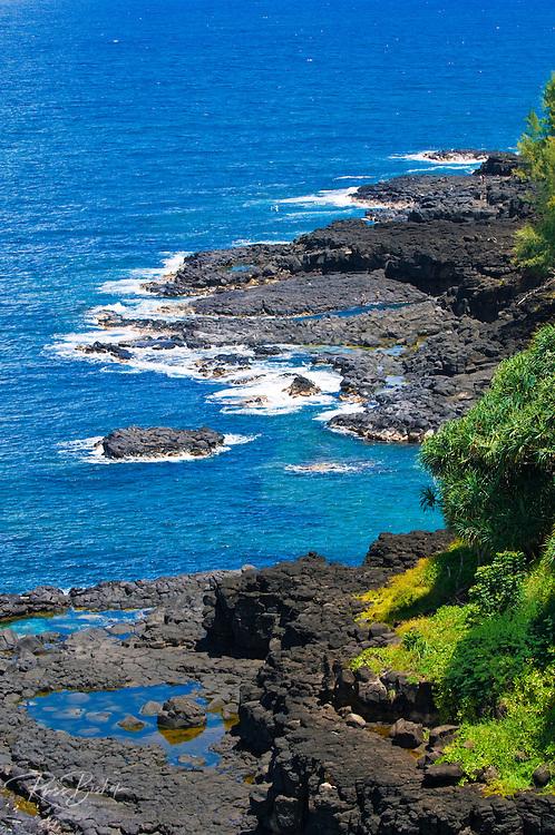 Lava coastline near Queen's Bath, Princeville, Island of Kauai, Hawaii