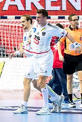 12.05.2017, Zatika Sport Centre, Porec, CRO, EHF EM, Herren, Österreich vs Frankreich, Gruppe B, im Bild v.l. Gerald Zeiner (AUT), Lukas Herburger (AUT) // during the preliminary round, group B match of the EHF men's Handball European Championship between Austria and France at the Zatika Sport Centre in Porec, Croatia on 2017/05/12. EXPA Pictures © 2018, PhotoCredit: EXPA/ Sebastian Pucher