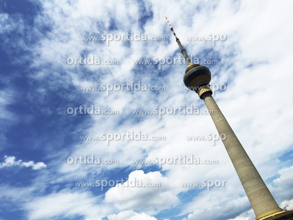 Photo taken by a cell phone on June 13, 2015 shows the China Central Television Tower under the blue sky in Beijing, capital of China. EXPA Pictures &copy; 2015, PhotoCredit: EXPA/ Photoshot/ Wang Quanchao<br /> <br /> *****ATTENTION - for AUT, SLO, CRO, SRB, BIH, MAZ only*****
