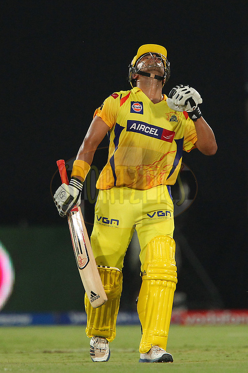 Suresh Raina celebrates his fifty during match 54 of the Pepsi Indian Premier League between The Sunrisers Hyderabad and Chennai Superkings held at the Rajiv Gandhi International  Stadium, Hyderabad  on the 8th May 2013..Photo by Ron Gaunt-IPL-SPORTZPICS ..Use of this image is subject to the terms and conditions as outlined by the BCCI. These terms can be found by following this link:..http://www.sportzpics.co.za/image/I0000SoRagM2cIEc