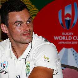 Jesse Kriel during the Kagoshima training camp: Media conference,Official RWC 2019 Arrivals Media Conference – Head coach and captain, assistant coach and six players available for interviews Friday 13th September 2019 (Mandatory Byline -Steve Haag Sports Hollywoodbets)
