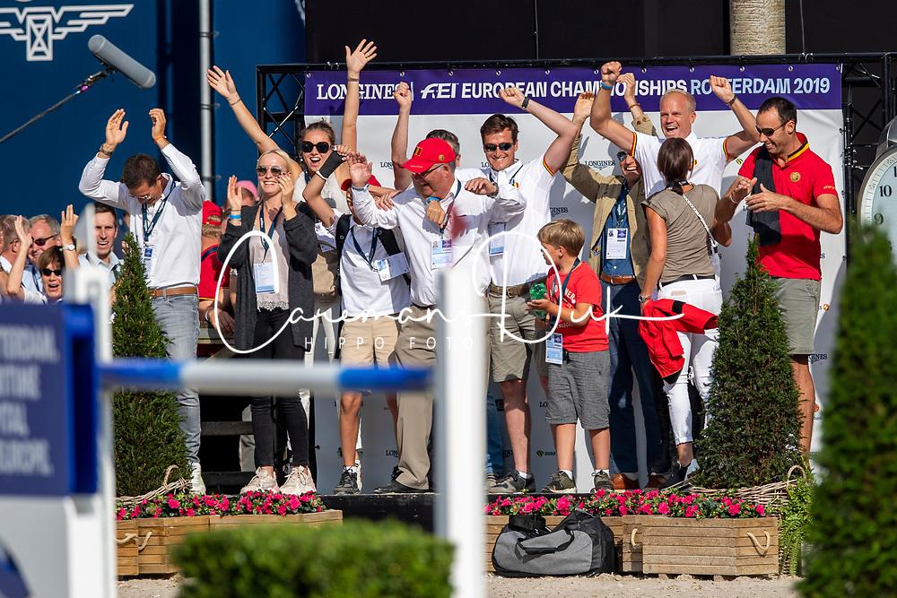 Team Belgium, Weinberg Peter, Philippaerts Olivier, Delaunay Pauline, Guery Jerome, Benoit Silvain, ... <br /> European Championship Jumping<br /> Rotterdam 2019<br /> © Hippo Foto - Stefan Lafrentz