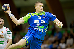 Blaz Blagotinsek of Slovenia during friendly handball match between National teams of Slovenia and Belarus, on April 8, 2018 in Sports hall Tri Lilije, Lasko, Slovenia. Photo by Urban Urbanc / Sportida