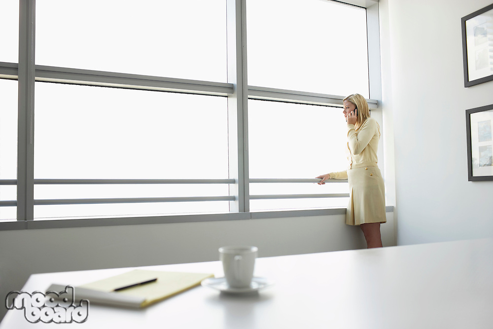 Business woman using mobile phone standing by window in office side view