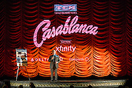 Leonard Maltin addresses the crowd gathered for the TCM 20th anniversary screening of Casablanca at Chicago's Music Box Theater.