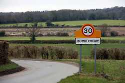 UK ENGLAND BERKSHIRE BUCKLEBURY 21MAR11 - Signpost an the entrance to Bucklebury village in Berkshire, England. Bucklebury is the home village of Kate Middleton, soon-to-be wife of Prince William...jre/Photo by Jiri Rezac..© Jiri Rezac 2011