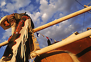 A Navajo cowboy straddles a fence before saddling his horse during the annual Keith J. Boyd Memorial Rodeo in Lower Greaswood, Arizona. The Navajo have a long tradition of rodeo and ranching. They began herding in the seventeenth century, soon after the Spanish introduced horses, cattle and sheep into the Southwest. By the1920s, the Navajo were gathering to race horses rodeo-style, often circling the wagons to form an arena. In 1958, the All-Indian Professional Rodeo Cowboys Association was founded by Dean Jackson.