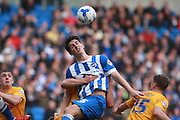 Brighton central defender Lewis Dunk wins a high ball during the Sky Bet Championship match between Brighton and Hove Albion and Preston North End at the American Express Community Stadium, Brighton and Hove, England on 24 October 2015. Photo by Bennett Dean.