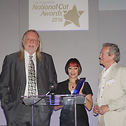London,England,UK, 4th Aug 2016 : Rick Wakeman , Saffron Sprucing and Paul Copley present the National Cat of the Year to Think at the National Cat Awards 2016 at Savoy Hotel, London,UK. Photo by See Li