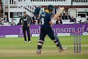 Surrey Captain Gareth Batty with his hands on his hips near the end of the match as Jonathan Trott prepares to face another delivery during the Royal London One Day Cup match between Warwickshire County Cricket Club and Surrey County Cricket Club at Lord's Cricket Ground, St John's Wood, United Kingdom on 17 September 2016. Photo by David Vokes.