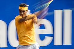 April 29, 2018 - Barcelona, Catalonia, Spain - RAFAEL NADAL (ESP) returns the ball to Stefanos Tsitsipas (GRE) in the final of the 'Barcelona Open Banc Sabadell' 2018. Nadal won 6:2, 6:1 (Credit Image: © Matthias Oesterle via ZUMA Wire)