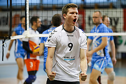 Jure Okroglic of Calcit Volley celebrates during volleyball match between Calcit Volley and Salonit Anhovo in Semifinal of Slovenian League 2017/18, on April 14, 2018 in Sportna Dvorana, Kamnik, Slovenia. Slovenia. Photo by Matic Klansek Velej / Sportida