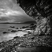Cliff, Elgol shore and the Cuillin