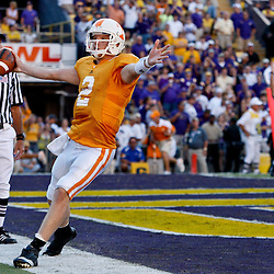 Oct 2, 2010; Baton Rouge, LA, USA; Tennessee Volunteers quarterback Matt Simms (2) celebrates following a touchdown during the second half against the LSU Tigers at Tiger Stadium. LSU defeated Tennessee 16-14.  Mandatory Credit: Derick E. Hingle
