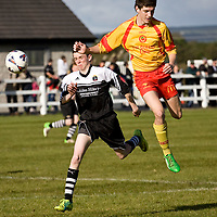 13.10.12<br /> McDonalds Ennis/Shannon Clare Schoolboys Soccer League Cup Finals. Firefighter Darren Stack Memorial Under 16 Cup Final, Moher Celtic V Avenue Utd. Moher's Shane Howard in action against Avenue's James Woods. Pic: Alan Place Press 22