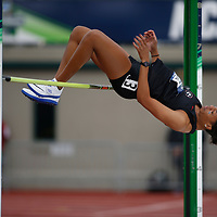 Georgia's Kendell Williams clears 5 feet, 11 1/4 inches in the heptathlon high jump on the third day of the NCAA outdoor college track and field championships in Eugene, Ore., Friday, June 9, 2017. Williams is lead the heptathlon with 2774 points. (AP Photo/Timothy J. Gonzalez)