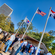 Dedication ceremony and unveiling of a new Korean War Memorial at Washington Square Park in Kansas City, MO on Sept. 28, 2011.