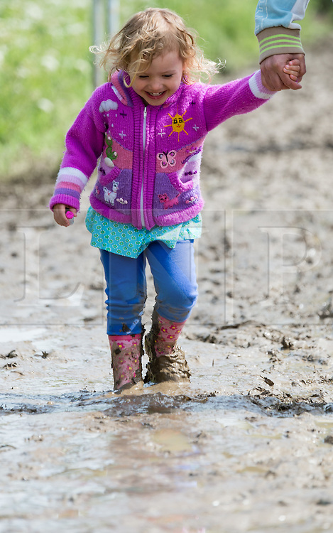 © Licensed to London News Pictures. 13/06/2015. Isle of Wight, UK. A young girl in wellies giggles with joy as she splashes through the mud at Isle of Wight Festival 2015 hand in hand with her father, on the morning of Saturday Day 3.  Yesterday suffered torrential rain all afternoon and evening, after a first day of warm sun.  This years festival include headline artists the Prodigy, Blur and Fleetwood Mac.  Photo credit : Richard Isaac/LNP