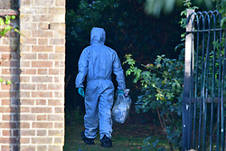 © Licensed to London News Pictures. 03/09/2018. London, UK. The scene at at Tottenham Cemetery, North London after a body was found. Police were called to the cemetery at 07:53 this morning where they found a 22-year-old man suffering from gunshot wounds. He was pronounced dead at the scene. Photo credit: Ben Cawthra/LNP