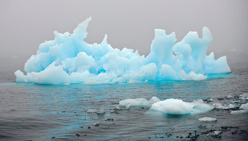 Blue iceberg at 81 degrees north, off Spitsbergen, Svalbard.