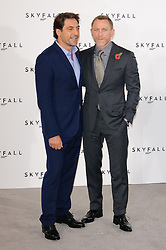 Javier Bardem and Daniel Craig pose for photographers at the photocall for the 23rd James Bond movie 'Skyfall', London, Thursday November 3, 2011. Photo By i-Images