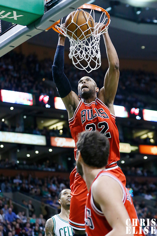 13 February 2013: Chicago Bulls power forward Taj Gibson (22) dunks the ball during the Boston Celtics 71-69 victory over the Chicago Bulls at the TD Garden, Boston, Massachusetts, USA.