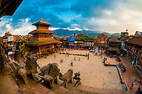 Taumadhi Square, Bhaktapur, Nepal seen from the Nyatapola Pagoda.