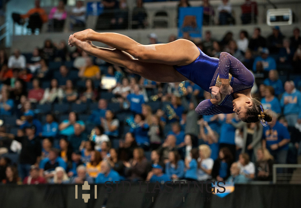 20 APRIL 2018 -- ST. LOUIS -- LSU gymnast Sarah Finnegan completes in Floor Exercise during the 2018 NCAA Women's Gymnastics Championship Semifinals in St. Louis Friday, April 20, 2018. LSU finished second in the semifinal, joining UCLA and Nebraska in advancing from the first semifinal into the Super Six championship round on Saturday.<br /> <br /> Photo &copy; copyright 2018 Sid Hastings.