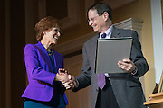 Dr. Judith Yaross Lee receives the 2017 Distinguished Professor Award presented by Ohio University Interim President David Descutner, at Ohio University's Baker Center Ballroom on Monday, February 20, 2017.