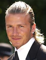 David Beckham, best man at wedding of  Davinia Taylor and Dave Gardener at St Johns Church Chelford Cheshire, 13/07/2003. <br />Photo: Digitalsport