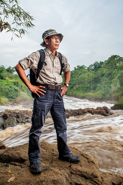 Portrait of Pak T. Bachtiar of Kelompok Riset CekunGga, KRCB  taken downstream the Citarum River where Gistex dump toxic wastes illegally.  Jelegong village, Kabupaten Bandung...Credit: Andri Tambunan for Greenpeace