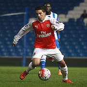 Arsenal striker Ismael Bennacer during the Barclays U21 Premier League match between Brighton U21 and Arsenal U21 at the American Express Community Stadium, Brighton and Hove, England on 30 November 2015. Photo by Bennett Dean.