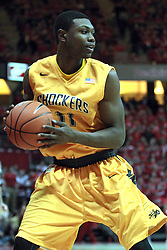 22 January 2014: Cleanthony Early pulls the ball close to protect it during an NCAA Missouri Valley Conference mens basketball game between the Shockers of Wichita Stat and the Illinois State Redbirds  in Redbird Arena, Normal IL.