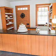 A bakery on High Street in Harpers Ferry, West Virginia, decorated in period items as a museum exhibit.