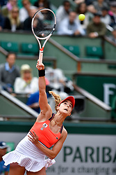 PARIS, June 3, 2017  Alize Cornet of France serves during the women's singles 3rd round match against Agnieszka Radwanska of Poland at the French Open Tennis Tournament 2017 in Paris, France on June 3, 2017. (Credit Image: © Chen Yichen/Xinhua via ZUMA Wire)