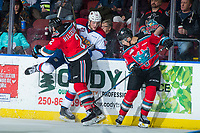 KELOWNA, CANADA - NOVEMBER 14: James Hilsendager #2 of the Kelowna Rockets checks Tomas Soustal #11 of the Edmonton Oil Kings into the boards during second period on November 14, 2017 at Prospera Place in Kelowna, British Columbia, Canada.  (Photo by Marissa Baecker/Shoot the Breeze)  *** Local Caption ***