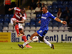 Bristol City's Marlon Harewood has his shot blocked by Gillingham's Leon Legge - Photo mandatory by-line: Seb Daly/JMP - Tel: Mobile: 07966 386802 06/08/2013 - SPORT - FOOTBALL - Priestfield Stadium - Gillingham -  Gillingham V Bristol City - Capital One Cup - First Round