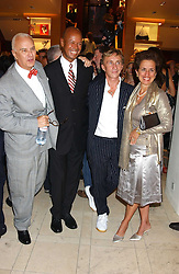 """Left to right, MANOLO BLAHNIK, MICHAEL ROBERTS, JASPER CONRAN and ROSE MARIE BRAVO at a party hosted by Christopher Bailey to celebrate the launch of """"The Snippy World of New Yorker Fashion Artist Michael Roberts"""" held at Burberry, 21-23 New Bond Street, London on 20th September 2005.<br /><br />NON EXCLUSIVE - WORLD RIGHTS"""
