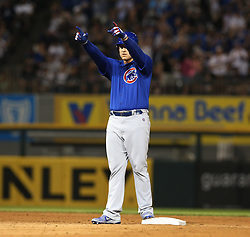 July 26, 2017 - Chicago, IL, USA - The Chicago Cubs' Anthony Rizzo reacts after hitting a three-run double against the Chicago White Sox during the fifth inning at Guaranteed Rate Field in Chicago on Wednesday, July 26, 2017. (Credit Image: © Nuccio Dinuzzo/TNS via ZUMA Wire)