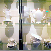 BEIJING, JANUARY-19: bowls are displayed in a vitrine in  the long hallway of the LAN Club, the latest addition to Beijing's high-end venues, January 19, 2007...The LAN was designed by Phillipe Starck and spans 6000 square metres.
