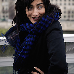 Folk-singer hindi zahra, as shot for Vibrations magazine. Paris, France. 27th April 2009. Photo: Antoine Doyen