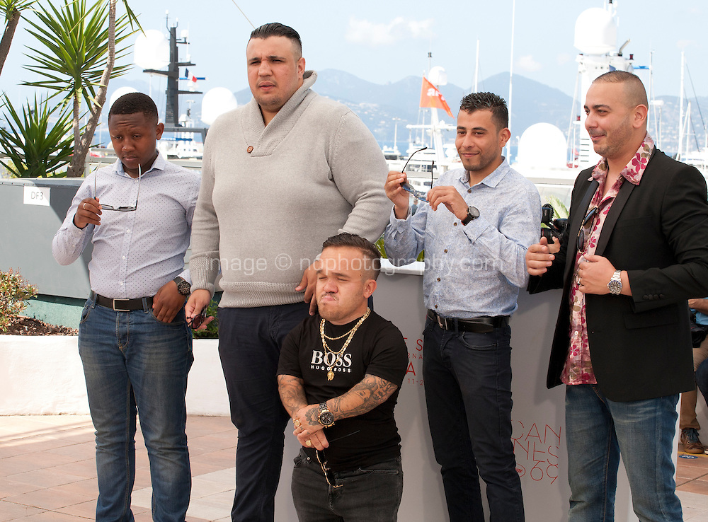 Actors Foziwa Mohamed, Foued Nabba, Tony Fourmann, Zine Darar and Oussama Abdul Aal at the Chouf film photo call at the 69th Cannes Film Festival Monday 16th May 2016, Cannes, France. Photography: Doreen Kennedy