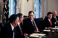 Bush 41 with congressional leaders in the cabinet room of the White House in April 1991<br /> Photo by Dennis Brack