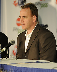 Calgary Hitmen GM Mike Williamson 2010 MasterCard Memorial Cup in Brandon, MB. Photo by Aaron Bell/CHL Images