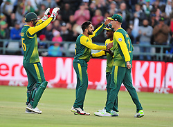 Cape Town-180224  Proteas celebrate after taking Bhuvneshwar Kumar's wicket   when the two countries played the T20 cricket at Newlands stadium.Photograph:Phando Jikelo/African News Agency/ANA