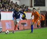 9th November 2017, Pittodrie Stadium, Aberdeen, Scotland; International Football Friendly, Scotland versus Netherlands; Scotland's Matt Phillips races away from Holland's Karim Rekik