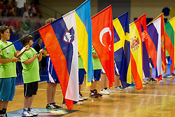 Flags during Opening ceremony at the U20 Men European Championship in Slovenia, on July 12, 2012 in Domzale, Slovenia.  (Photo by Vid Ponikvar / Sportida.com)