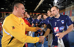 Goalkeeper of Bulgaria Encho Enchev and Vid Kavticnik before handball match of 5th Round of qualifications for EHF Euro 2010 in Austria between National team of Slovenia vs Bulgaria, on November 30, 2008 in Velenje, Slovenia. (Photo by Vid Ponikvar / Sportida)