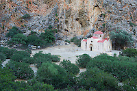 Grece, Crete, Matala, gorges de Agiofarango, eglise de Agios Antonios // Greece, Crete, Matala, Agiofarango gorge, Agios Antonios church in the gorge